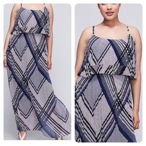 Lane Bryant Tiered Pleated Printed Maxi Dress